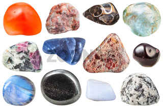 various tumbled ornamental gem stones isolated