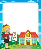 Frame with school girl 2 - picture illustration.