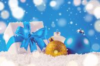 christmas gift box and balls