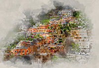 Digital watercolor painting of Positano. Italy
