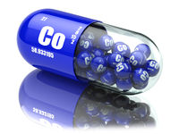 Pills with cobalt Co element Dietary supplements. Vitamin capsules.