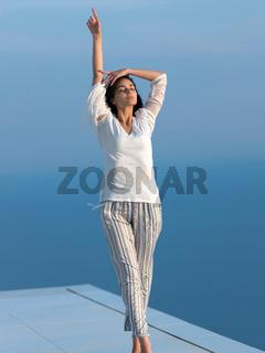 young woman enjoy sunset
