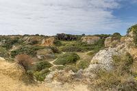 Way between the rocks of the Algarve west of Lagos.