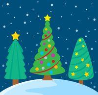 Stylized Christmas trees theme image 3 - picture illustration.