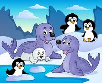 Seals and penguins theme image 1 - picture illustration.