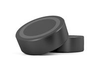 Two ice hockey pucks