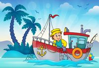 Fishing boat theme image 3 - picture illustration.