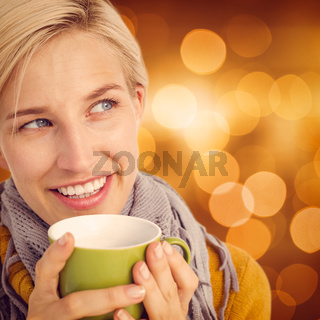 Composite image of close up of woman drinking from a cup
