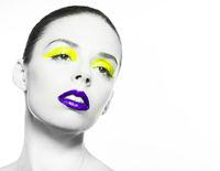 purple lips and yellow eye liner