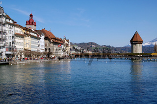 Lake Lucerne with famous Chapel Bridge