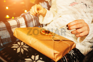 Girl opens a wonderful vintage gift