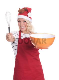 weihnachtsfrau mit schale und schneebesen