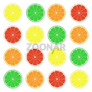 Obstset: Zitrone, Limette, orange, grapefruit. Vektor EPS10