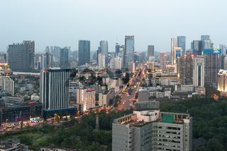 Chengdu skyline at dusk