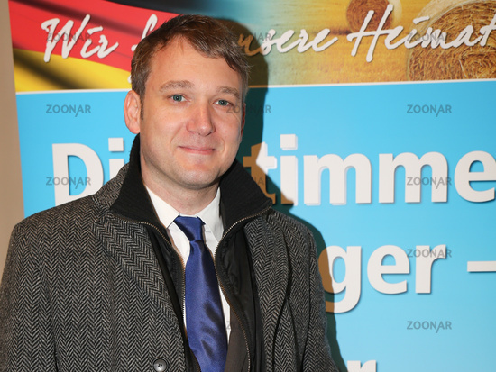 Regional chairman of the AFD in Saxony-Anhalt André Poggenburg at a campaign rally AfD state electio