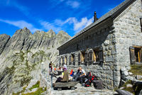 mountain refuge Gelmerhütte of the Swiss Alpine Club (SAC), Bernese Oberland, Switzerland