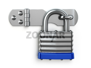 Padlock hanging on lock hinge. Security concept.