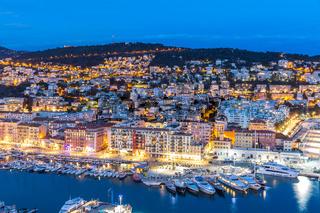 Nice, France at dusk