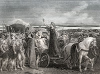 Boudica, queen of the British Celtic Iceni tribe uprising against the occupying forces of the Roman Empire