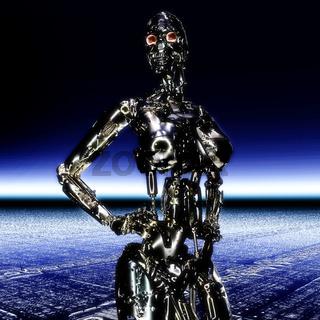 3D Illustration; 3D Rendering of a Cyborg