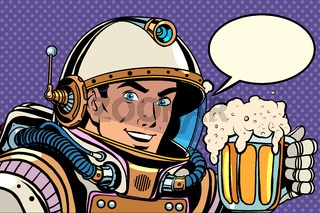 Astronaut with a mug of foaming beer