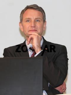 Fraktionsvorsitzender MdL Björn Höcke (AfD Thüringen) während einer Wahlkampfveranstaltung der AfD zur Landtagswahl Sachsen-Anhalt 2016