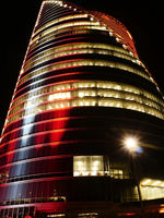 modern buildings in red colours