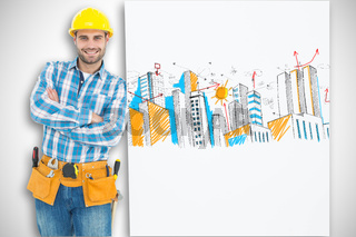 Composite image of confident repairman leaning on blank billboard