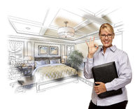 Woman with Okay Sign Over Custom Bedroom Drawing Photo Combination