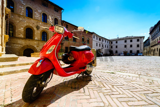 red italian scooter