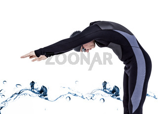 Composite image of swimmer in wetsuit while diving