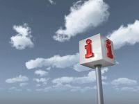 würfel mit dem buchstabe i vor wolkenhimmel - 3d illustration
