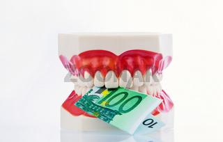 Zahnmodell mit Euroscheinen