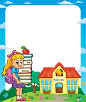 Frame with school girl 3 - picture illustration.
