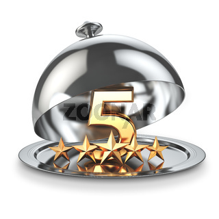 Five stars on cloche. Service rating concept of restaurant or hotel.