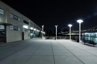 empty floor near water at night