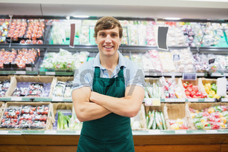 Portrait of man grocer smiling