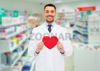male pharmacist with heart at drugstore