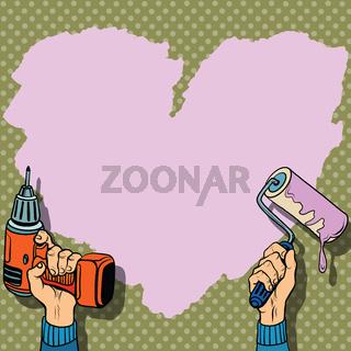 Love heart background paint wall repair