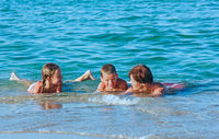 Familys summer holidays on sea.