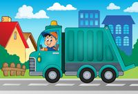Garbage collection truck theme image 2 - picture illustration.