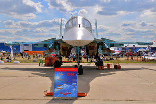MOSCOW, RUSSIA - AUG 2015: strike fighter Su-34 Fullback present