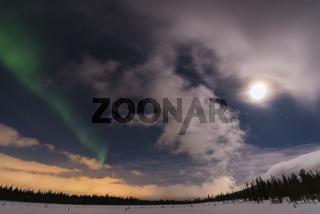 Nordlicht ueber Winterlandschaft, Gaellivare, Lappland