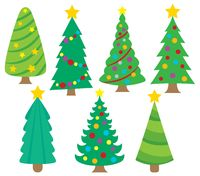 Stylized Christmas trees collection 1 - picture illustration.
