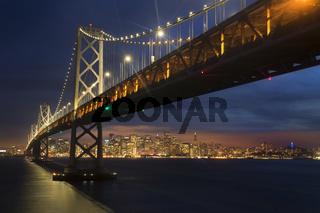 San Francisco Bay Bridge and Skyline at Sunset