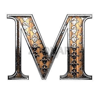 m silver letter. 3D illustration