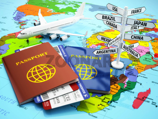 Travel or tourism concept. Passport, airplane, airtickets and destination sign on the map.
