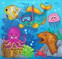 Fish snorkel diver theme image 3 - picture illustration.