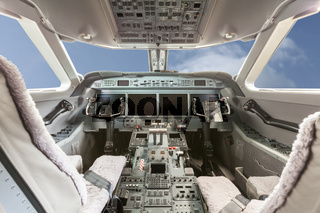 Inside view Cockpit Airplane Aircraft