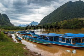 Traditional boats at Nam Ou river, Laos